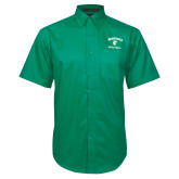 Kelly Green Twill Button Down Short Sleeve-Basketball