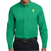 Kelly Green Twill Button Down Long Sleeve-Bear in Circle