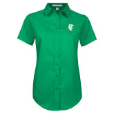 Ladies Kelly Green Twill Button Up Short Sleeve-Athletic Mark