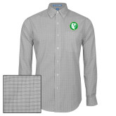 Mens Charcoal Plaid Pattern Long Sleeve Shirt-Bear in Circle
