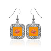 Crystal Studded Square Pendant Silver Dangle Earrings-Full Color Athletics Mark