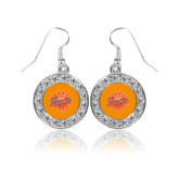 Crystal Studded Round Pendant Silver Dangle Earrings-Full Color Athletics Mark