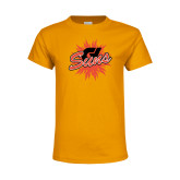 Youth Gold T Shirt-Flat Color Athletics Mark