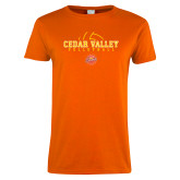 Ladies Orange T Shirt-Volleyball Abstract