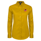 Ladies Gold Twill Button Down Long Sleeve-Flat Color Athletics Mark