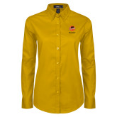 Ladies Gold Twill Button Down Long Sleeve-Basketball
