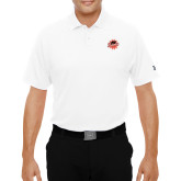 Under Armour White Performance Polo-Flat Color Athletics Mark
