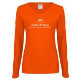 Ladies Orange Long Sleeve V Neck Tee-Primary Mark
