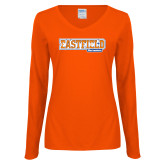 Ladies Orange Long Sleeve V Neck Tee-Athletic Wordmark