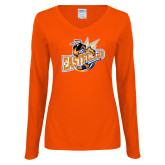 Ladies Orange Long Sleeve V Neck Tee-Eastfield Wave