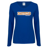 Ladies Royal Long Sleeve V Neck Tee-Athletic Wordmark