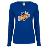 Ladies Royal Long Sleeve V Neck Tee-Eastfield Wave
