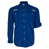 Columbia Bahama II Royal Long Sleeve Shirt-Athletic Wordmark