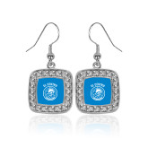 Crystal Studded Square Pendant Silver Dangle Earrings-El Centro Chaparrals