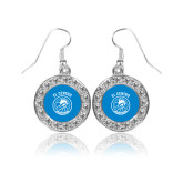 Crystal Studded Round Pendant Silver Dangle Earrings-El Centro Chaparrals