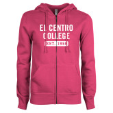 ENZA Ladies Fuchsia Fleece Full Zip Hoodie-El Centro College Est. 1966