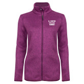 Dark Pink Heather Ladies Fleece Jacket-El Centro College Est. 1966