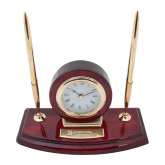 Executive Wood Clock and Pen Stand-Primary Mark - Horizontal Engraved