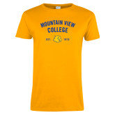 Ladies Gold T Shirt-Mountain View Lions Arched