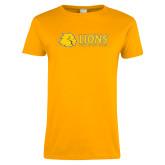 Ladies Gold T Shirt-Lions w/ Lion Head