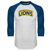 White/Royal Raglan Baseball T Shirt-Mountain View College Lions in Box