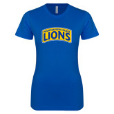 Next Level Ladies SoftStyle Junior Fitted Royal Tee-Mountain View College Lions in Box