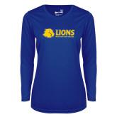 Ladies Syntrel Performance Royal Longsleeve Shirt-Lions w/ Lion Head