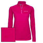 Ladies Pink Raspberry Sport Wick Textured 1/4 Zip Pullover-Primary Mark - Horizontal