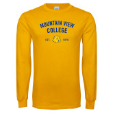 Gold Long Sleeve T Shirt-Mountain View Lions Arched