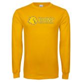 Gold Long Sleeve T Shirt-Lions w/ Lion Head