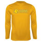 Performance Gold Longsleeve Shirt-Lions w/ Lion Head