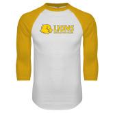 White/Gold Raglan Baseball T Shirt-Lions w/ Lion Head