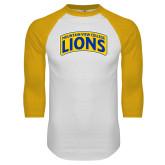 White/Gold Raglan Baseball T Shirt-Mountain View College Lions in Box