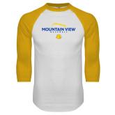 White/Gold Raglan Baseball T Shirt-Baseball Seams