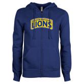 ENZA Ladies Royal Fleece Full Zip Hoodie-Mountain View College Lions in Box