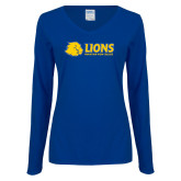 Ladies Royal Long Sleeve V Neck Tee-Lions w/ Lion Head