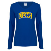 Ladies Royal Long Sleeve V Neck Tee-Mountain View College Lions in Box