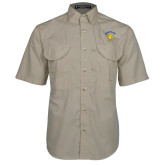 Khaki Short Sleeve Performance Fishing Shirt-Mountain View Lions
