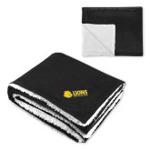 Super Soft Luxurious Black Sherpa Throw Blanket-Lions w/ Lion Head