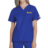 Ladies Royal Two Pocket V Neck Scrub Top-Lions w/ Lion Head