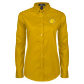Ladies Gold Twill Button Down Long Sleeve-Lion Head