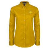 Ladies Gold Twill Button Down Long Sleeve-Baseball