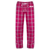 Ladies Dark Fuchsia/White Flannel Pajama Pant-Lions w/ Lion Head