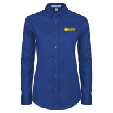 Ladies Royal Twill Button Down Long Sleeve-Lions w/ Lion Head