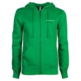 ENZA Ladies Kelly Green Fleece Full Zip Hoodie-Primary Mark - Horizontal