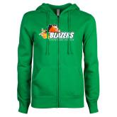 ENZA Ladies Kelly Green Fleece Full Zip Hoodie-Athletic Mark