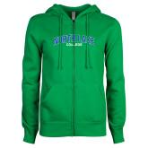 ENZA Ladies Kelly Green Fleece Full Zip Hoodie-Arched