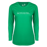 Ladies Syntrel Performance Kelly Green Longsleeve Shirt-Primary Mark - Horizontal