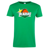 Ladies Kelly Green T Shirt-Blazers Stacked