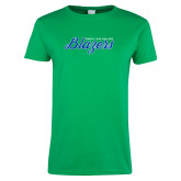 Ladies Kelly Green T Shirt-Script